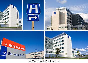 collage, szpital, nowoczesny