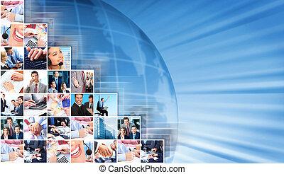 collage, tło., handlowy zaludniają