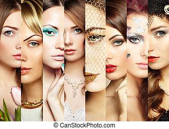 collage., twarze, piękno, kobiety