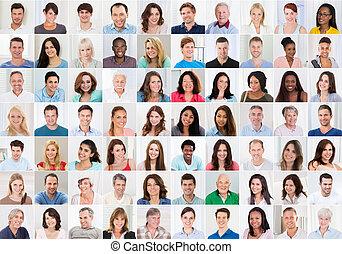 collage, uśmiechnięte ludzie