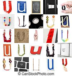 collage, u, litera