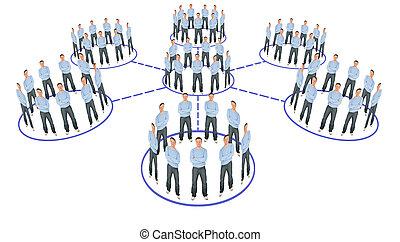 collage, układ, system, kooperacja, ludzie
