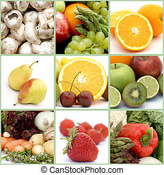 collage, warzywa, owoc