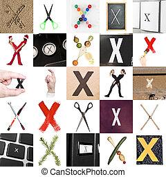 collage, x, litera