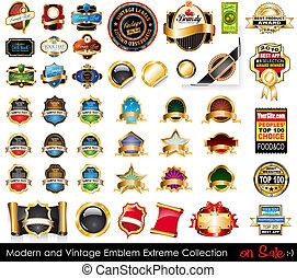 collection., emblematy, ekstremum, nowoczesny, rocznik wina