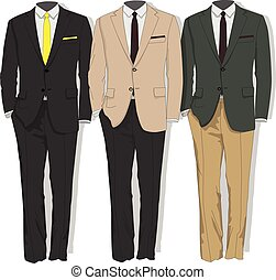collection., suit., człowiek, vector., odzież