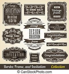 collection., ułożyć, calligraphic, zaproszenie, róg, element, brzeg