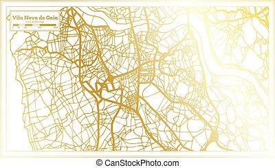 color., vila, nova, mapa, złoty, map., gaia, miasto, styl, portugalia, retro, szkic, od