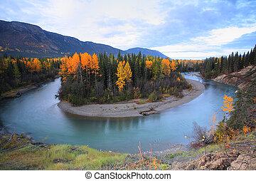 columbia, północny, brytyjski, jesień, kolor, wzdłuż, rzeka