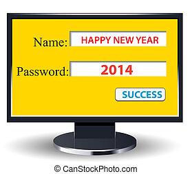 comp, nowy, retro, rok, 2014, szczęśliwy