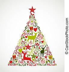 composition., ablegry, elementy, eps10, odpoczynek, barwny, drzewo, zorganizowany, formułować, wesoły, editing., wektor, renifery, rząd, święto, boże narodzenie
