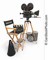 composition., dyrektor filmu, aparat fotograficzny, rocznik wina, reels., krzesło