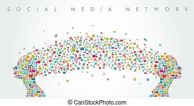 composition., głowy, sieć, media, formułować, towarzyski, eps10, file., kobiety