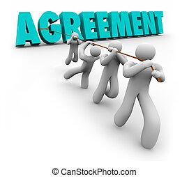 concensus, słowo, pracujący, porozumienie, pertraktować, ciągnący, drużyna, osada, 3d