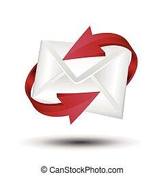 concept., e-poczta, wektor, arrows., poczta, czerwony, okólnik