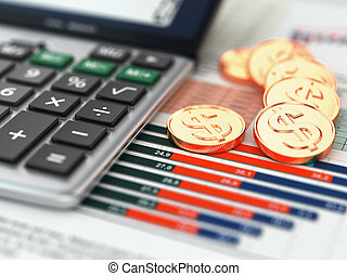 concept., finansowy, graph., monety, kalkulator