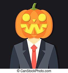 concept., halloween, ilustracja, wektor, garnitur, head., dynia, człowiek