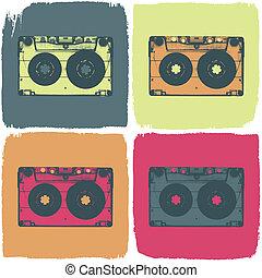 concept., kaseta, eps8, wektor, dźwiękowy, pop-art