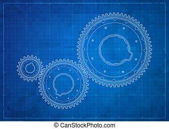 concept., mechanizmy, handlowy, blueprint.