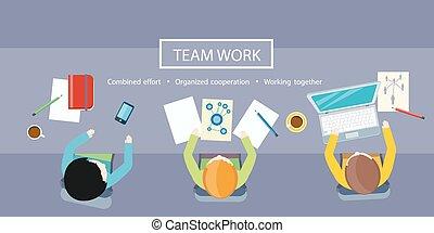 concept., praca, spotkanie, handlowy zaprzęg