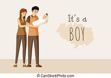 concept., przelotny deszcz, karta, togetherness, to, dzień, zaproszenie, wektor, parenting, niemowlę, rodzice, chłopiec, szczęśliwy, design.