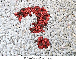 concept., pytanie, narkotyk, marka, medyczny, pigułki, biały, torebki, czerwony, wyjścia, tło.