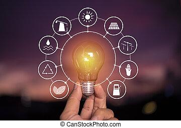 concept., słoneczny, dzierżawa, moc, ikony, odnawialny, lightbulb, ręka, ekologia, do podtrzymania, źródła, development., nature., energia