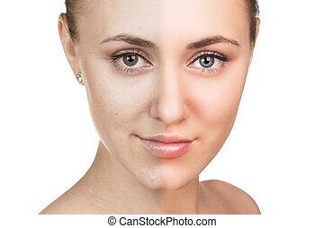 concept., troska, skóra, kobieta, młody