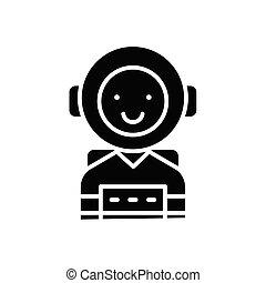 concept., wektor, czarnoskóry, symbol, płaski, ikona, osobowość, znak, ambitny, illustration.