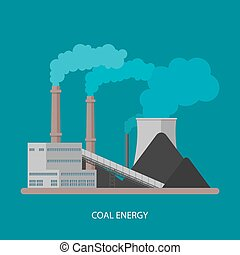 concept., wektor, factory., energia, elektryczność, przemysłowy, stacja, roślina, style., tło, węgiel, płaski, ilustracja, moc