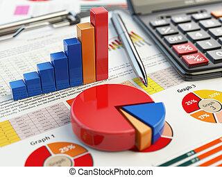 concept., white., pieniężny donoszą, wykres, wykres, odizolowany, opodatkować, handlowy, uważając, clipboard