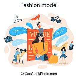 concept., wzór, fason, człowiek, odzież, przedstawiać, nowa kobieta
