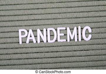 concept., zielony, beletrystyka, pandemic., zdrowie, biały, alfabet, tło