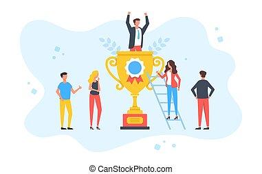 concepts., nowoczesny, zaludniać posiedzenie, rywalizacja, płaski, reward., zwycięzca, ilustracja, powodzenie, złoty, wektor, człowiek, trofeum, design., najlepszy, pracownik, osiągnięcie, cup., szczęśliwy, nagroda, biznesmen, grupa