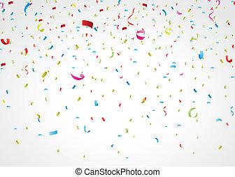 confetti, barwny, biały