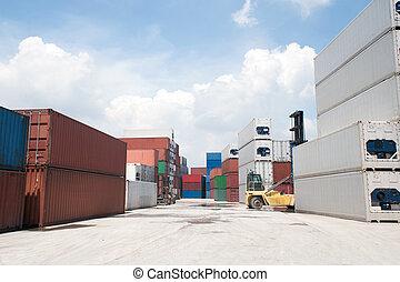 containers., stóg, ładunek
