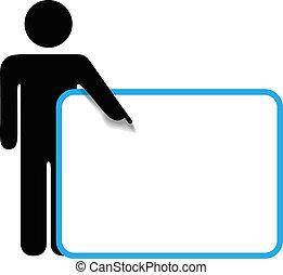 copyspace, figura, symbol, znak, osoba, punkty, wtykać, palec