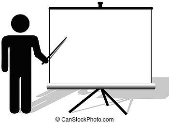 copyspace, film, symbol, punkty, prezentacja, ekran, człowiek