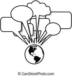 copyspace, zachód, blogs, rozmowy, mowa, tweets, ziemia, bańka