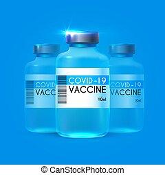 coronavirus, concept., zakaźny, vaccine., 2019, wrzosiec, wektor, zatrzymywać, ncov, medycyna, projektować, troska, covid-19