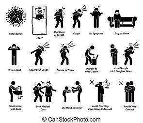 coronavirus, znak, tips., zapobieganie, symptomy