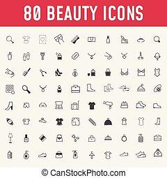 cosmetics., piękno, makijaż, komplet, icons., 80