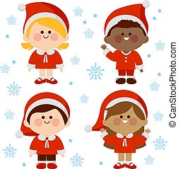 costumes., dzieci, boże narodzenie, ilustracja, grupa, wektor, rozmaity, claus, ubrany, święty