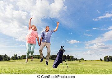 course., para, skokowy, golf, senior