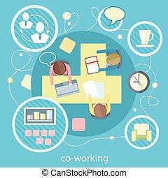 coworking, spotkanie, concept., handlowy