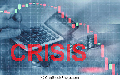 crisis., napis, ekonomiczny, recesja, finansowy, concept.