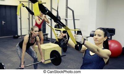 crossfit, pracujący, sala gimnastyczna, equipment., różny, poza, kobiety