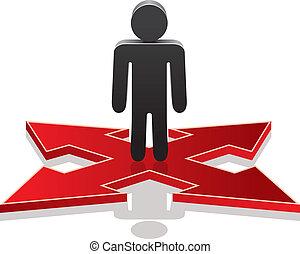 crossroads, zrobienie, wybór, człowiek, wektor