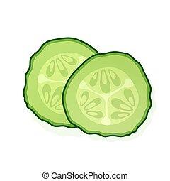 cucumber., wektor, biały, okrągły, illustration., kawał, zielony, dwa, kromka, tło., ogórek, odizolowany