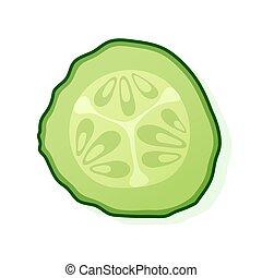 cucumber., wektor, biały, okrągły, illustration., kawał, zielony, kromka, tło., ogórek, odizolowany